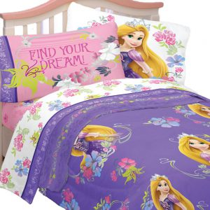4pc Disney Tangled Twin Bedding Set Rapunzel Princess Style Comforter and Sheet Set