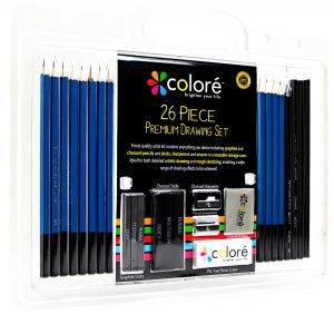 Colore 26 Piece Sketch & Drawing Pencils - Best for School Art & Craft Supplies Set - Includes Charcoal & Graphite Sticks