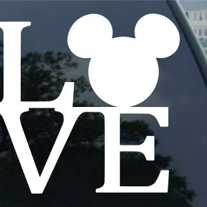 "Crawford Graphix Mickey Mouse Ears Love Logo Vinyl Decal Sticker Disney for Car Truck SUV Boat Trailer Mirror Laptop Art (5"" White)"