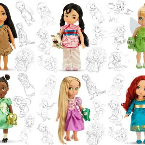 Disney Animators Doll Collection - Modern - Pocahontas, Mulan, Tinkerbell, Tiana, Rapunzel, Merida