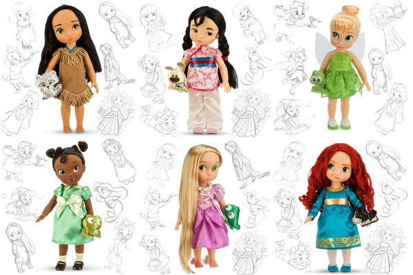 Disney Animators Doll Collection - Modern - Pocahontas, Mulan, Tinkerbell, Tiana, Rapunzel, Merida
