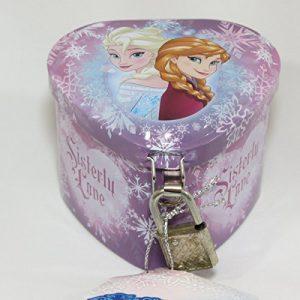 Disney Frozen Anna and Elsa Heart Shaped Girl's Tin Storage Keepsake with Lock