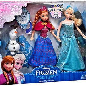 "Disney Frozen Musical Magic Elsa & Anna 12"" Dolls with 4"" Talking Olaf Gift Set"