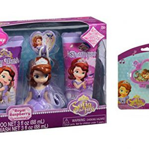 Disney Junior Sofia the First Royal Raspberry Scented Bath Time Soap & Scrub Gift Set, 3 pc! Plus Bonus Princess Sofia Heart Shaped Whistle!
