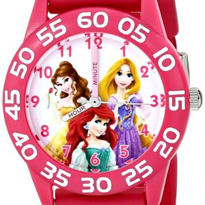 Disney Kids' W001514 Disney Princess 3D Plastic Watch, Peach 3D Strap, W001514 Analog Display Analog Quartz Rose Gold Watch