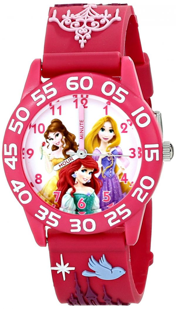 Disney Kids' W001514 Disney Princess 3D Plastic Watch, Peach 3D Strap, W001514 Analog Display Analog Quartz Rose Gold Watch