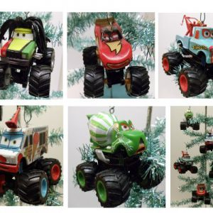 Disney Lightning McQueen Cars Monster Truck Mater Holiday Christmas Tree Ornament Set Featuring Frightening McMean, Paddy O'Concrete, Rastacarian, Tormentor, and I-Screamer
