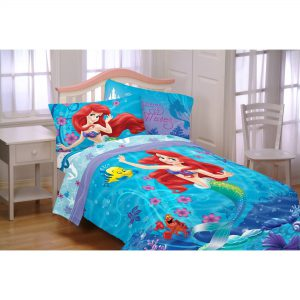 Disney Little Mermaid Ariel Girls Twin Comforter & Sheet Set W (4 Piece Bed in A Bag) + Homemade Wax MELT