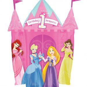 "Disney Princess 1st Birthday Jumbo 35"" Foil Balloon Pnk Castle Shape"