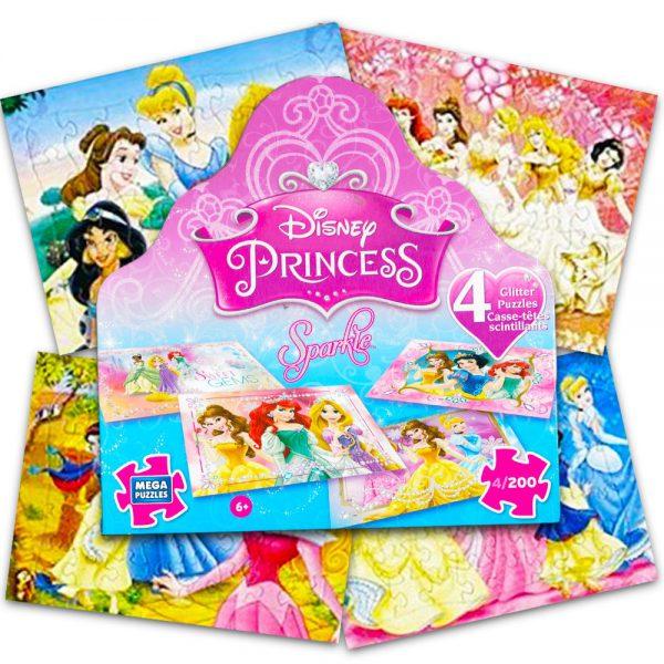 Disney Princess 4 Glitter 200 Piece Puzzles