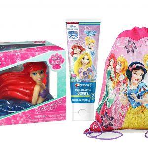 "Disney Princess ""Ariel"" Inspired 4pc Sparkling Smile Oral Hygiene Gift Set! Includes Toothbrush Holder, Toothbrush, Toothpaste & Rinse Cup! Plus Bonus Princess Resuable Drawstring Tote Gift Bag!"