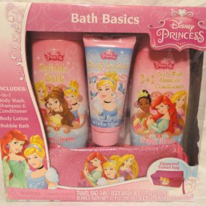 Disney Princess Bath Basics Kit in Royal Berry Bubble Bath Body Lotion Wash Shampoo Conditioner & Travel Bag