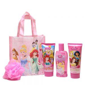 Disney Princess Bath Time Fun Pack Bubble Bath, Body Wash, Body Lotion, Pink Mesh Bath Pouf in a Reusable Princess Tote Bag