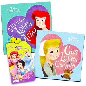 Disney Princess Board Books Set for Girls Toddlers Kids -- Set of 3 Deluxe Board Books Featuring Ariel, Cinderella, Snow White, Belle and More