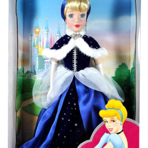 Disney Princess Brass Key Keepsakes Year 2003 Collectible 16 Inch Porcelain Doll - Royal Holiday Edition Cinderella with Blue Gown, Evening Gloves, Earrings and Headbands