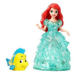 Disney Princess Glitter Glider Belle, Ariel & Aurora Dolls with their Escorts