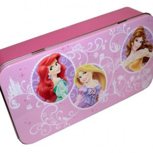 Disney Princess Hinged Storage Tin Box Pencil Case, Ariel, Rapunzel & Belle