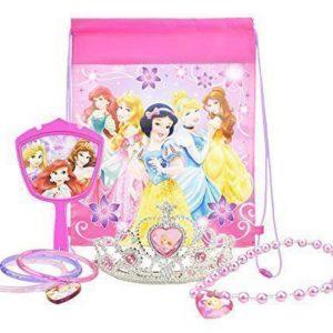 Disney Princess Jewelry Set, with Princess Tiara, Necklace, Mirror, PLUS Disney Princess Bag - Party Favor Bundle