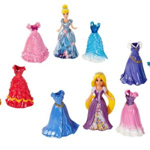 Disney Princess Little Kingdom Magiclip Fashion Gift Set - Includes Belle, Merida, Cinderella, Rapunzel Dolls - 16 Pc Set (4 Dolls, 12 Magiclip Dresses)