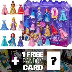Disney Princess Little Kingdom Magiclip Fashion Giftset + 1 FREE Classic Disney Trading Card Bundle