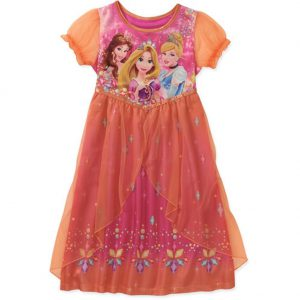 Disney Princess Rapunzel Belle Cinderella Girl Fantasy Orange Nightgown (6/6X)