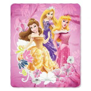 "Disney Princess Shining Flowers Fleece Blanket 46"" by 60"" - Rapunzel and Belle"