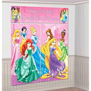 """Disney Princess Sparkle Birthday Party Scene Setters Wall Decorating Kit (5 Pack), Pink, 59"""" x 65""""."""