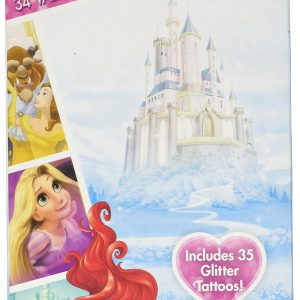 Disney Princesses Valentines 34 Cards with Tattoos Deluxe - Ariel Rapunzel Cinderella Snow White Belle Aurora Tiana