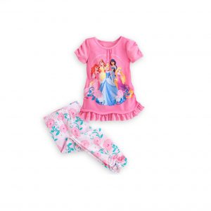 Disney Store Girls Princess Ariel/Belle/Cinderella/Jasmine & Rapunzel Pajama Set