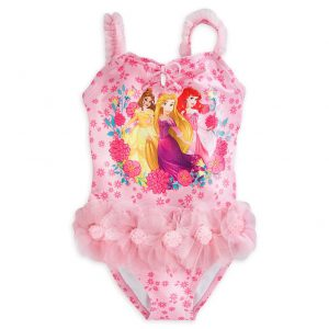 Disney Store Princess Ariel Belle Rapunzel Girl One Piece Deluxe Swimsuit Size 5/6
