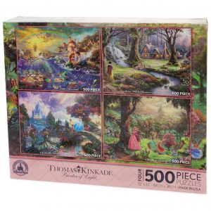 Disney Thomas Kinkade Set of 4 500 Piece Puzzles Puzzle Snow White Little Mermaid Sleeping Beauty Cinderella