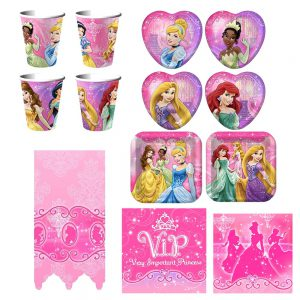 Disney Very Important Princess Dream Deluxe Party Supplies Pack Including Plates, Napkins, Cups and Tablecover - 8 Guests