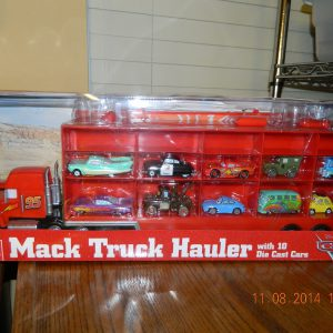 Disney World of CARS Mack Truck Hauler with 10 Cars Mater Mcqueen Sally Sheriff Fillmore Flo Ramone Luigi Guido Holds 30 Cars