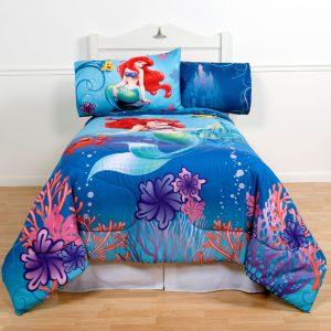 Disney's The Little Mermaid Twin Comforter & Sheet Set (4 Piece Girls Bedding) K + BONUS HOMEMADE WAX MELT! …