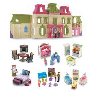 Fisher Price Loving Family Dream Mega Set Dollhouse w/ Dolls & Furniture