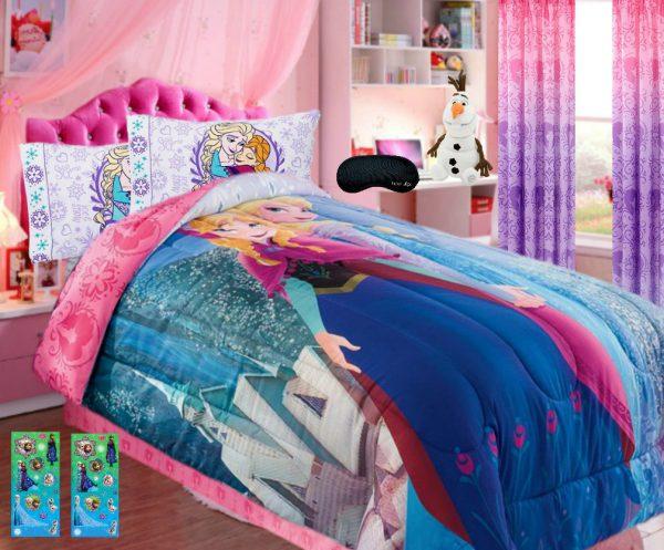 Home Style New! Disney Frozen 7 Piece Twin SUPERSET! Soft Comforter + 100% Cotton Flannel Sheets + Pillowcase, 2 Frozen Glitter Sticker Sheets + Bonus Sleep Mask (7 Pc Bedding Bundle)