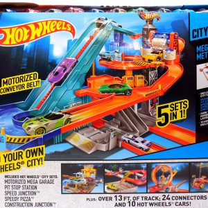 Hot Wheels City Mega Metropolis Motorized Race Track 10 Cars 5 Hot Wheels City Sets