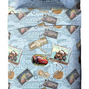 Jay Franco Disney/Pixar Cars Tune Up Blue/Gray 4 Piece Full Sheet Set with Lightning McQueen & Mater (Official Disney/Pixar Product)
