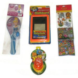 Kid's Bundle Pack - 4 Items: Disney Princesses Paddle Ball, Super Action Classic Yoyo, Scribble Slate Chalkboard with Chalk and Eraser and 3 Pieces of White Chalk(Non-toxic), Animal Stickers 174 Pieces.