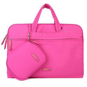 Laptop Briefcase Bag, Evecase 13-13.5 Inch Waterproof Soft Padded Tablet/Laptop Universal Sleeve Bag Carrying Case Briefcase with Handle with Pouch Case and Mouse Pad - Hot Pink