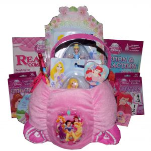 Luxurious Disney Plush Princess Learning is Fun Carriage Gift Basket - Perfect for Easter, Christmas, Birthdays, Get Well, or Just Because