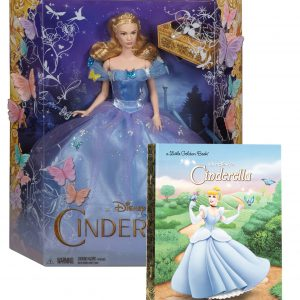 "Maven Gifts: Disney Cinderella Bundle – Mattel Royal Ball Cinderella 12-Inch Doll with ""Walt Disney's Cinderella"" Hardcover Little Golden Book"