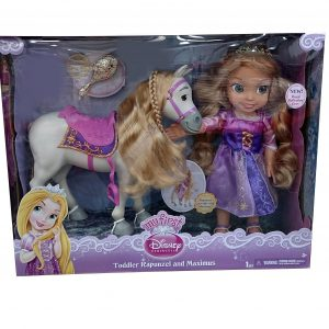 My First Disney Princess Royal Reflection Eyes Toddler Rapunzel and Maximus Horse Doll Set with Brush