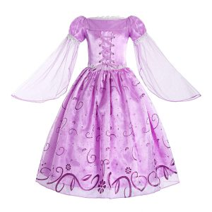 ReliBeauty Little Girls Rapunzel Costume Mesh Sleeve Princess Fancy Dress