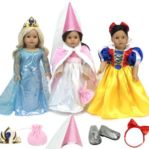 Sophia's 18 Inch Doll Delightful Princess Set of 11 Pc.s, 3 Dresses: Pink Gown, Blue Princess Dress, Yellow Fairy Tale Costume, Pink Cape, Silver Dress Shoes 3 Headpieces and Doll Accessory Bag!