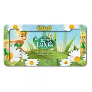 Tinker Bell with White Daisy Flowers Fairies Disney Auto Car Truck SUV Vehicle Universal-fit License Plate Frame - Plastic - SINGLE