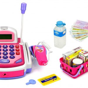 Velocity Toys KX My First Cash Register Pretend Play Battery Operated Toy Cash Register w/ Working Scanning Action, Calculator, Money and Credit Card, Groceries