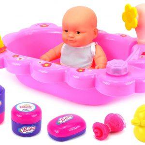 Velocity Toys Mommy & Baby Bathtub Time Toy Baby Doll Playset w/ Baby Doll, Bathtub, Bath Accessories